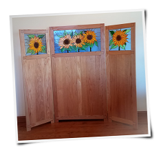 Stain Glass and Oak Room Divider
